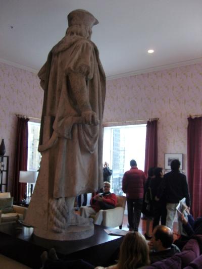 Columbus statue in living room