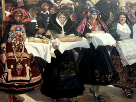 Bread day at a Castille market, Provinces of Spain by Sorolla