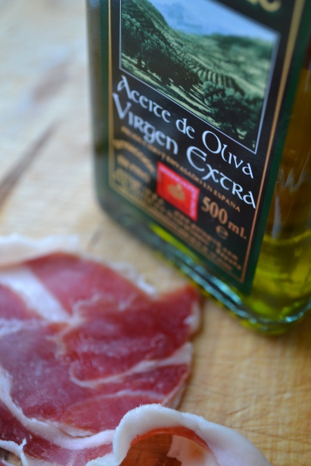 Olive oil and jamon iberico